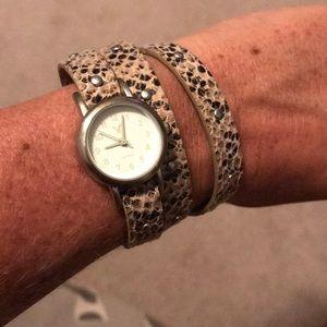 Snake skin bracelet wrap watch